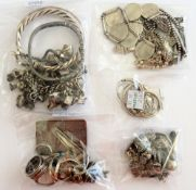 Mostly silver jewellery, comprising; a charm bracelet, another bracelet, three bangles,