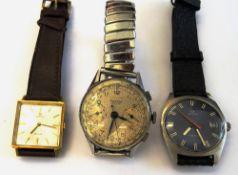 A Charles Nicolet Tramelan base metal, circular cased, gentleman's chronograph wristwatch,