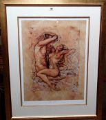 Joy Kirton Smith (contemporary), The Kiss; Fusion, two colour prints, both signed,