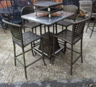 Smania Outdoor; a rattan and metal garden table, 80cm wide x 101cm high,