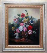 E** de Sanz (20th century), Flowerpiece, oil on canvas, signed, 67cm x 57cm.