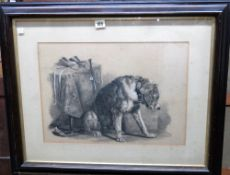 After Sir Edwin Landseer, 'Suspense', pencil and white chalk, 33.5cm x 47.5cm.