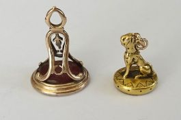 A Victorian gold and cornelian fob seal,
