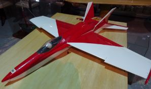 A 20th century scratch built remote control glider, 102cm long.