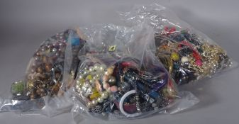 Costume jewellery; a large quantity of 20th century costume jewellery, including bangles,