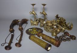 Asian interest, comprising; a large group of bronze items including dragons, scroll weights,