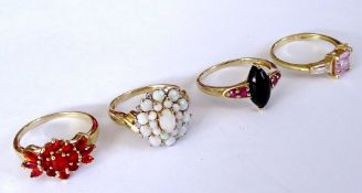 A 9ct gold, opal and diamond set oval cluster ring,