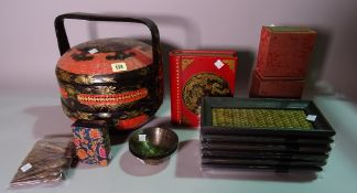 Collectables, including; 20th century twin handled wooden tray, Asian three tier lacquer box,