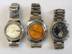 A Seiko Chronograph Automatic steel cased gentleman's bracelet wristwatch,
