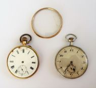 A gold cased, keyless wind, openfaced gentleman's pocket watch,