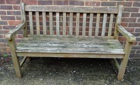 Westminster Teak; a pair of benches, 150cm wide x 94cm high and a square coffee table,