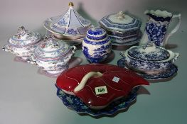 Ceramics, comprising; a group of decorative tea wares, cups, saucers and teapots including Mikado,