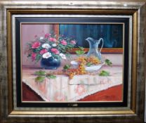J** Gonzales (20th century), Tabletop still life of grapes and flowers, oil on canvas, signed,