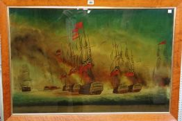 A 20th century print on glass of a Naval Engagement, 58cm x 88cm.
