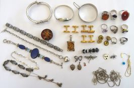 Silver and other jewellery, comprising; three bangles, two brooches, six bracelets,