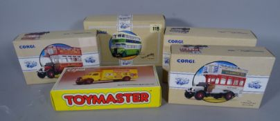 Toys, a group of boxed Corgi classic vehicles, mainly busses and coaches.