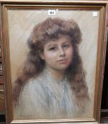 Florence Smith (early 20th century), Portrait of a young girl, pastel, signed and dated 1907,