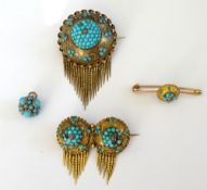 A Victorian turquoise and rose diamond set circular brooch,