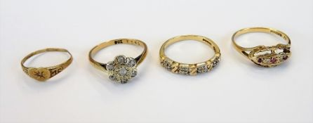 A gold and diamond set seven stone cluster ring, detailed 9 CT, a 9ct gold ring,