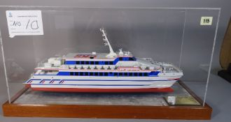 A 20th century scratch built model of an Asian Passenger Ferry, in a perspex case,