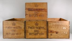 Four wooden wine crates, stamped Finest
