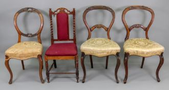 A Victorian carved walnut side chair, wi