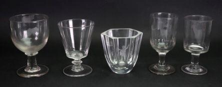 An Orrefors glass hexagonal tapering vas