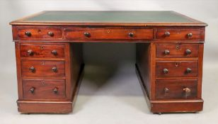 A Victorian mahogany kneehole desk, with