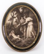 After Angelica Kauffmann, Cupid and Cephisa, bears Fredk B Daniel & Son label (verso),