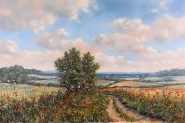 Debbie Poynton, A track way of poppies in high summer, signed, oil on canvas,