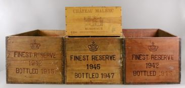 Two wooden wine crates stamped Finest Re
