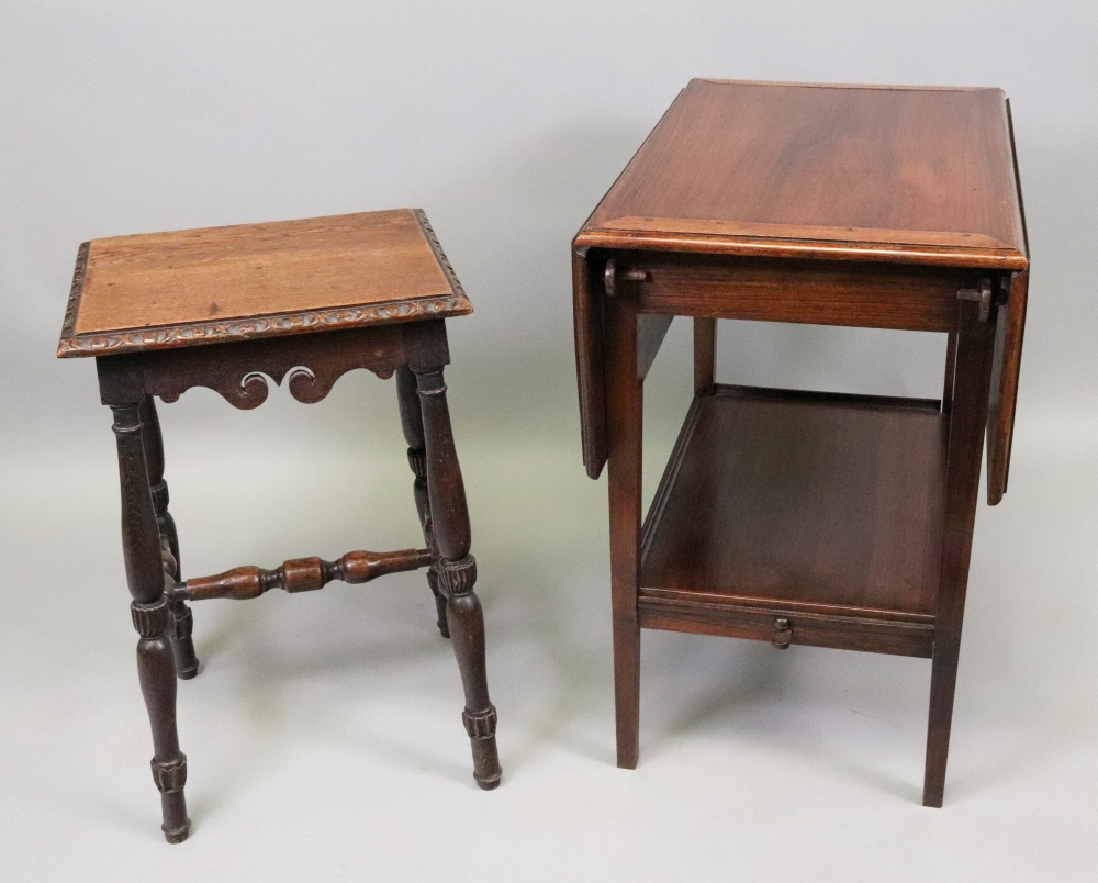 Lot 1323 - A late Victorian carved oak stool, in 17