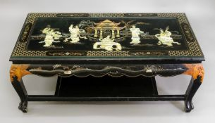 A Japanese black lacquered rectangular t