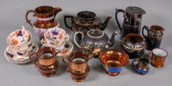 A set of six Victorian Gaudy Welsh tea c