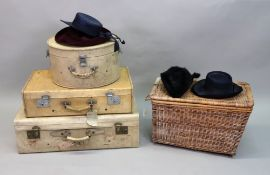 A vintage velum covered hat box and two