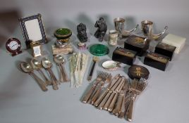 Collectables, including; a Carter travel clock, white metal model of a snail, Russian lacquer boxes,
