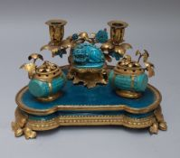 A Chinese porcelain and ormolu mounted Louis XV style encrier, mid-19th century,