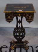 A 19th century chinoiserie decorated sewing table, 36cm wide x 70cm high.