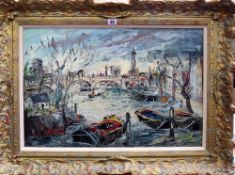 Jan Snowman (George Hahn, 20th century), Kew Bridge, oil on board, signed, 43cm x 64cm.