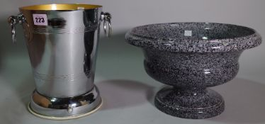 A 20th century silver plated wine cooler and mottled grey ceramic pedestal bowl.