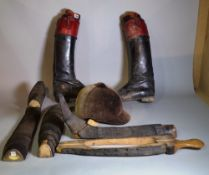 Collectables, a group of hunting boots, boot lasts and a riding helmet.