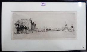 Frederick Farrell (1882-1935), Buckingham Palace, etching, signed, 17.5cm x 43cm.
