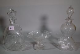 Two Royal Brierley George VI commemorative glass decanters and stoppers,