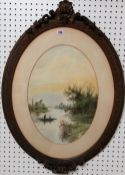 Circle of Edwin Earp, Lake scenes, a pair, watercolour, oval, each 48cm x 34cm.