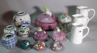 Asian ceramics, a quantity of mostly 20th century ginger jars and covers, jugs and vases,