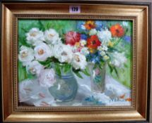 Russian School (20th century), Floral still life studies, two, oil on canvasboard, one signed,