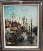 George Hahn (20th century), Boats in harbour, oil on board, signed, 48.5cm x 39cm.
