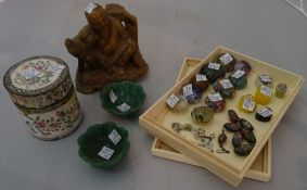 Collectables, including; an Asian hardstone figure of Buddha, a pair of Asian hardstone green bowls,