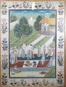 A large Indian gouache painting, 20th century,