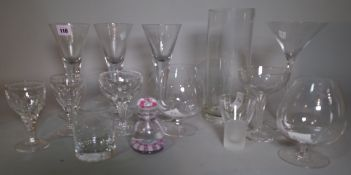 Glassware, comprising; assorted 20th century drinking glasses, four Lalique glasses,